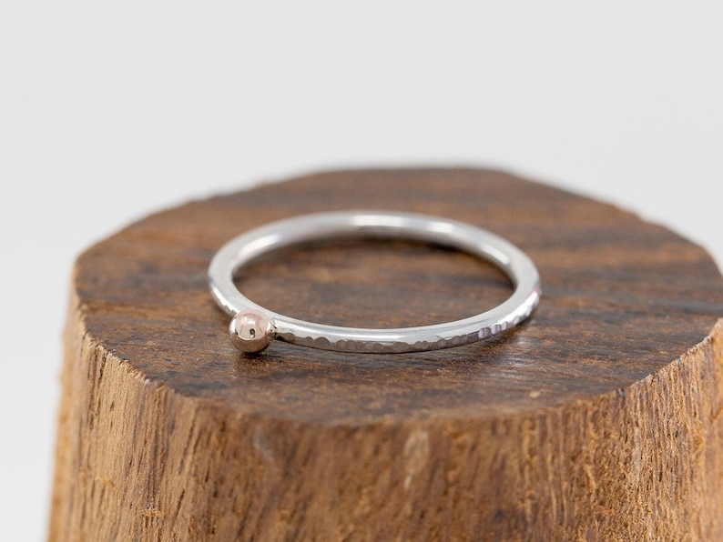 Solid 9ct Rose Gold&Sterling Silver Solitaire RingGold Dot image 0