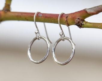 Sterling Silver Circle Earrings|Sterling Silver Dangle Earrings|Small Sterling Silver Loop Earrings|Handmade Earrings|Gift for Her