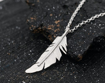 Handmade Sterling Silver Angel Feather Pendant Necklace, 3D Small Silver Feather Necklace, Angel Feather Necklace, Gift for Her