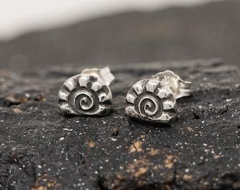 Sterling Silver Seashell Fossil Stud Earrings, Shellfish Earrings, Seashell earrings, Nautical Earrings, Handmade Earrings, Gift for Her