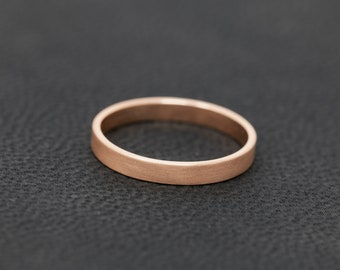 SOLID 9ct Rose Gold Flat Wedding Ring, 2MM Rose Gold Matt Wedding Ring, Promise Ring, Handmade Wedding Band, Unisex Ring Band
