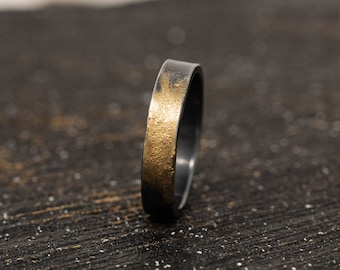 4MM Sterling Silver & 24K Gold Keum Boo Rustic Ring, Mens Rustic Band , Unique Wedding Ring, Promise Ring, Gift for Him, Gift for Her