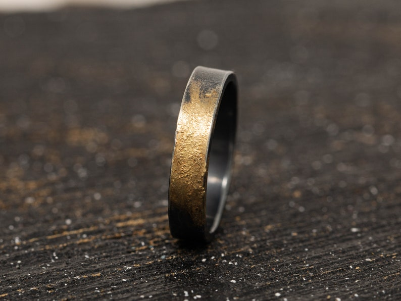4MM Sterling Silver & 24K Gold Keum Boo Rustic Ring Mens image 0