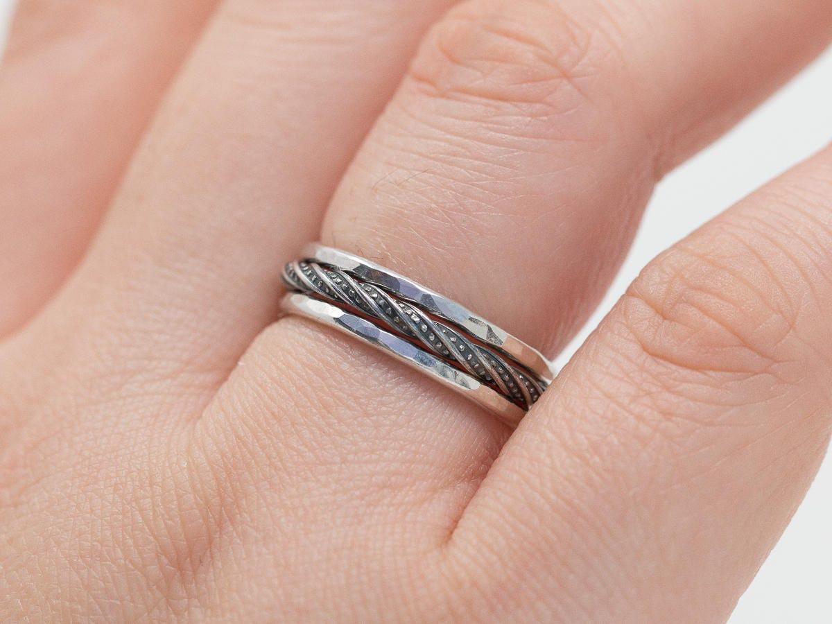 Sterling Silver Ring Set Silver Ring Set Silver n Black Ring Set ...
