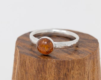 Hand forged Amber Ring, Sterling Silver Amber Cabochon Ring, Genuine Amber Stone, Baltic Amber Ring, Gift for Her, Gift for Mother
