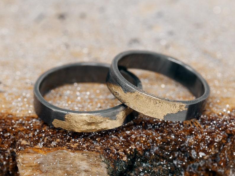 Sterling Silver & 24K gold Keum Boo Ring Set OOAK Rings OOAK image 0