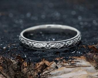 Solid Sterling Silver Flower Ring, Floral Ring, Handmade Vine Ring, Oceanic Ring, Gift for Her