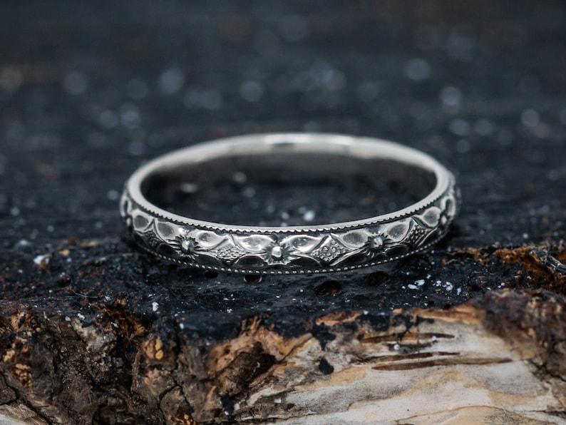 Solid Sterling Silver Flower Ring Floral Ring Handmade Vine image 0