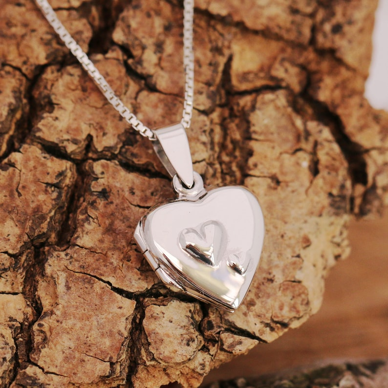 211e60db7a403 Sterling Silver Heart Locket Necklace 2 Hearts Domed Silver