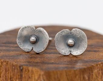 Sterling Silver Poppy Earrings|Poppy Earrings|Poppy Stud Earrings|Floral Earrings|Poppy Flower Earrings|Handmade Earrings|Gift for Her