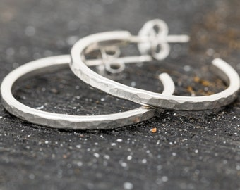 Sterling Silver Loop Earrings|Sterling Silver Textured Earrings|Loop Stud Earrings|Half Loop Earrings|Silver Hoop Earrings|Gift for Her
