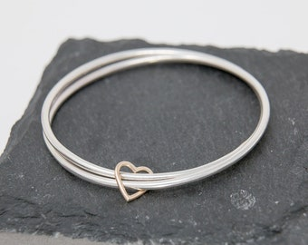 Double Sterling Silver Bangles with 9ct Gold Heart Charm|Duo Sterling Silver Bangles with Gold Heart Charm|Heart Bangle|Valentine's Day Gift