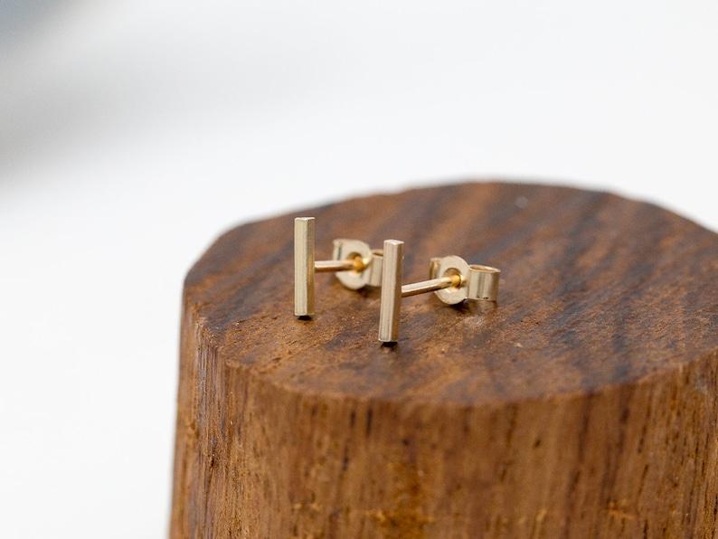 Solid 9ct Gold Bar Stud EarringsMinimalist Gold EarringsGold image 0