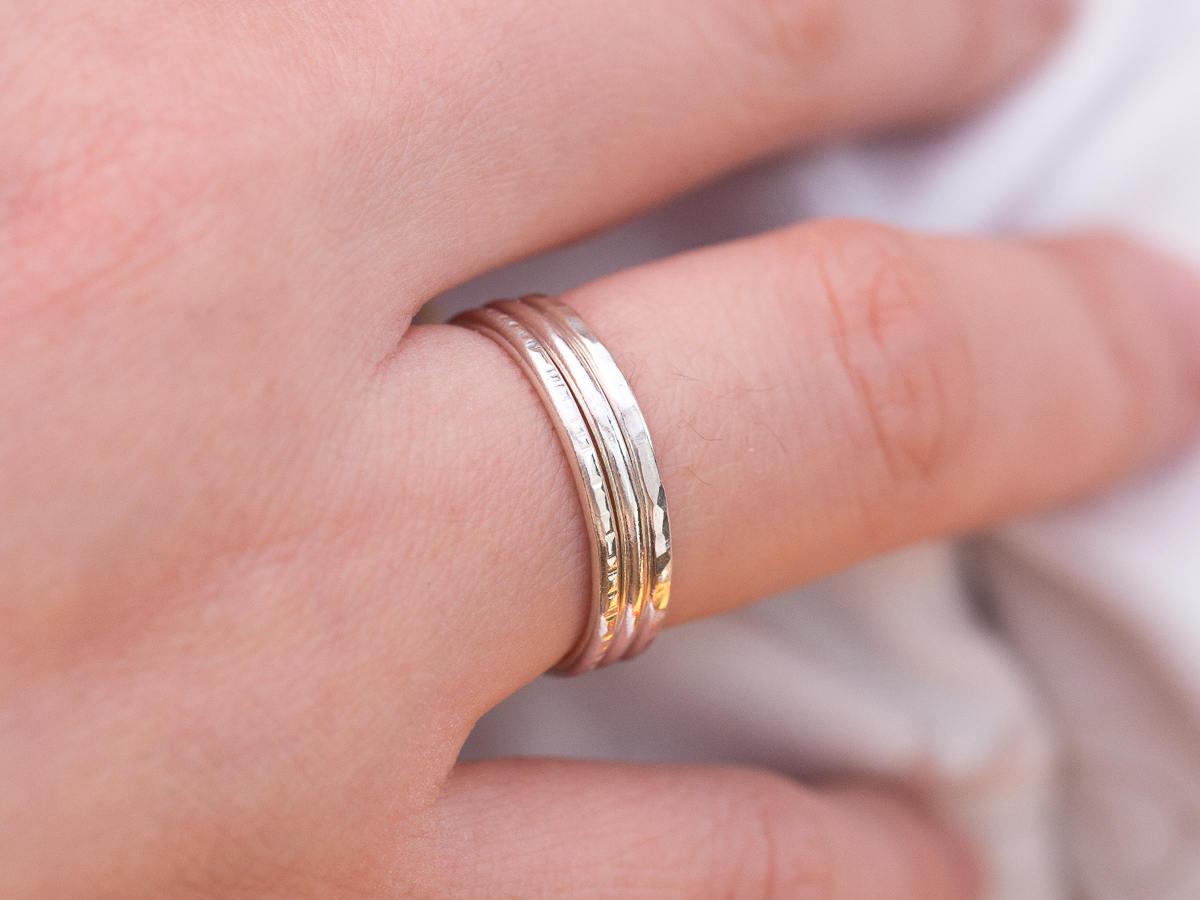 Sterling Silver Ring Set|Handmade Ring Set|Minimalist Ring Set ...