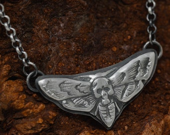 Handmade Sterling Silver Death Moth Necklace, Death Moth Necklace, Gothic Necklace, Death Head Moth Necklace, Gift for Her