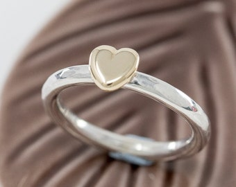 9ct Yellow Gold Heart Ring, Sterling Silver & Gold Heart Ring, Engagement Ring, Promise Ring, Anniversary Gift, Git for Her