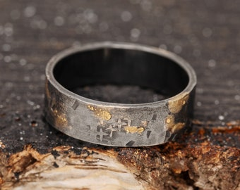 6mm 24K Gold Keum Boo Rustic Ring, Silver&Gold Rustic Ring, Unisex Silver Ring, Textured Ring, Mens Ring, Wedding Band, Gift for Him