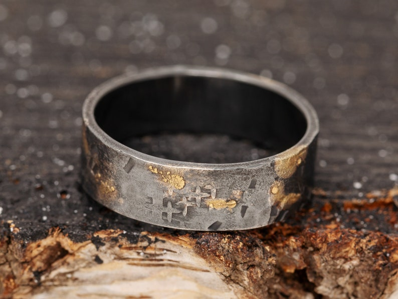 6mm 24K Gold Keum Boo Rustic Ring Silver&Gold Rustic Ring image 0
