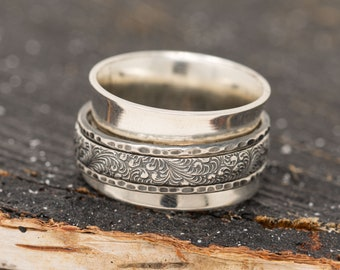 12mm Sterling Silver Spinner Ring, Chunky Wide Sterling Silver Ring, Handmade Ring, Fidget Ring, Anxiety Ring, Unisex Ring, Meditation Ring
