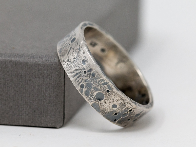 6mm Sterling Silver Celestial Ring Rustic Ring Unisex Silver image 0