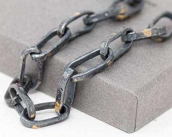 24K Gold & Sterling Silver Rustic Bracelet, Handmade Keum boo Bracelet, Unisex Bracelet, Chain Bracelet, Dark Bracelet, Gift for Her or Him