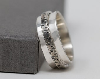 Rustic Ring|Organic Ring|Sterling Silver Spinner Ring|Unisex Ring|Chunky Ring|Celestial Ring| Handmade Ring|Gift for Him|Gift for Her