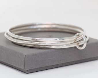 Sterling Silver Bangle Set, Stackable Bangles, Bangle Set of 3, Stacking Bracelets, Handmade Silver Bangle Bracelet, Gift for Her