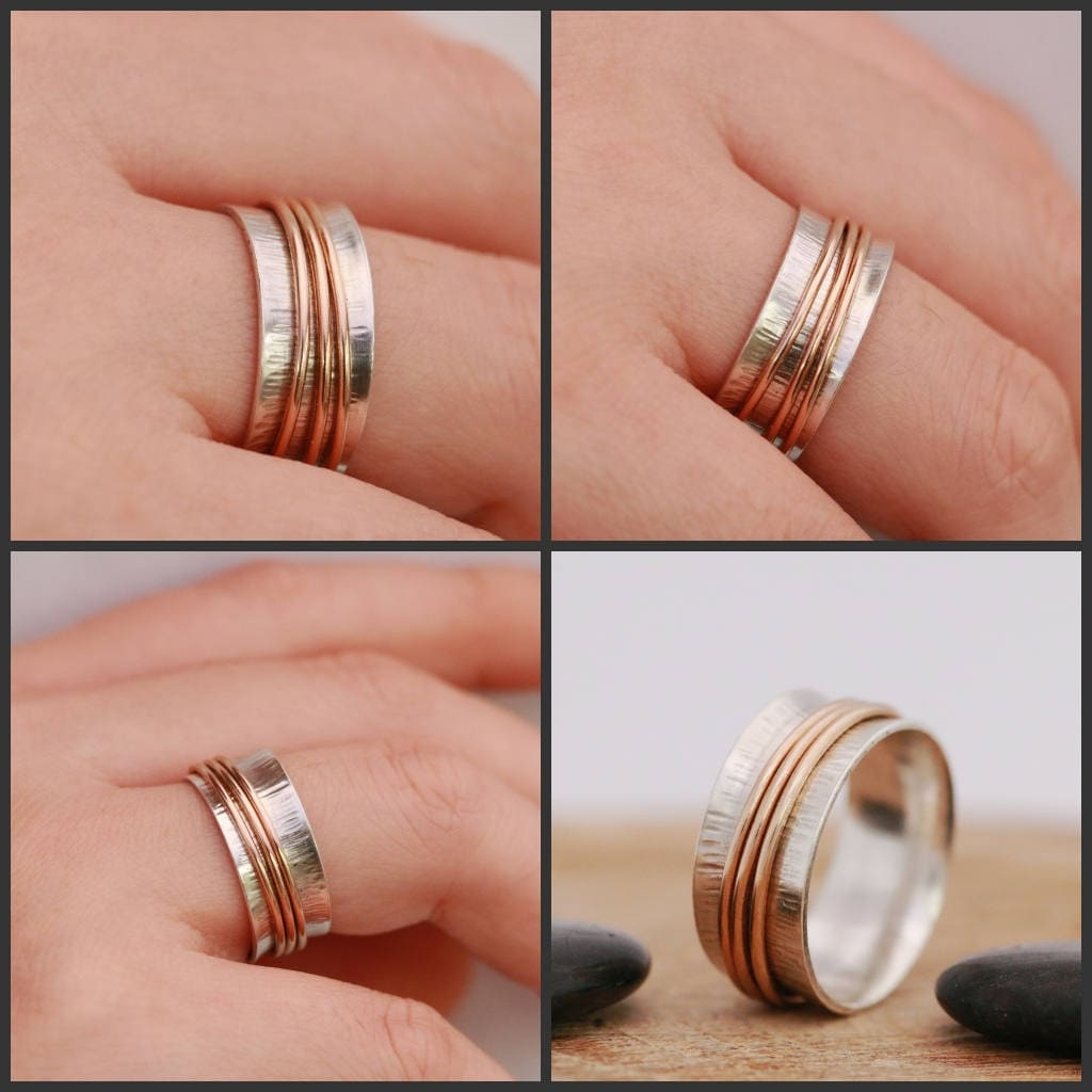 SOLID 9ct Gold Spinner Ring