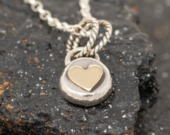 Sterling Silver and 9ct Gold Heart Necklace|Heart Necklace|Love Heart Necklace|Mixed Metal Necklace|Small Rustic Heart Necklace|Gift for Her