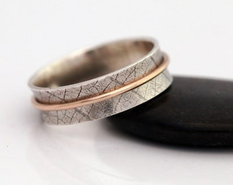 Sterling Silver & Gold Filled Spinner Ring, Leaf Ring, Hadmade Leaf Skeleton Ring, Worry Ring, Gift for Her
