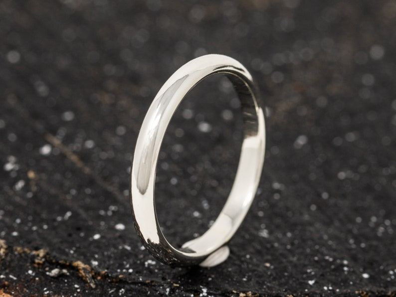 SOLID 9ct White Gold Ring 3MM D Shaped Mens Gold Wedding image 0
