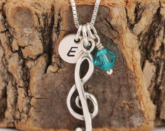 Sterling Silver Music Note Necklace, Music Note Necklace, Treble Clef Necklace, Birthstone Necklace, Initial Necklace, Gift for Her