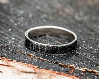 Sterling Silver Rustic Ring, Men's Wedding Band, Unisex Ring, Handmade Embossed Ring, Hammered Ring, Textured Ring, Gift for Her
