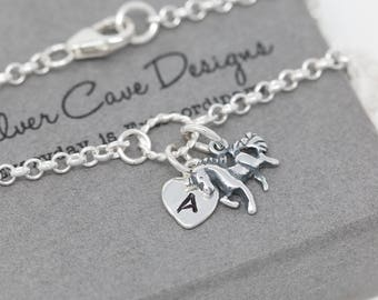 Sterling Silver Unicorn Bracelet|Silver Unicorn Bracelet|Unicorn Bracelet|My Little Pony Bracelet|Initial Bracelet|Gift for Her|Personalised