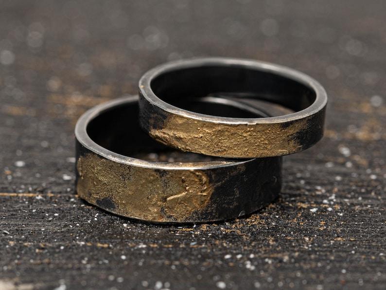 4mm6mm Sterling Silver & 24K gold Keum Boo Ring Set OOAK image 0