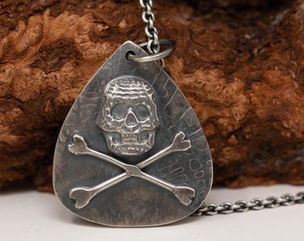 Handmade Sterling Silver Skeleton Pendant Necklace, Skull Pendant Necklace, Pirates Skeleton Necklace, OOAK Jewellery, Unisex Necklace
