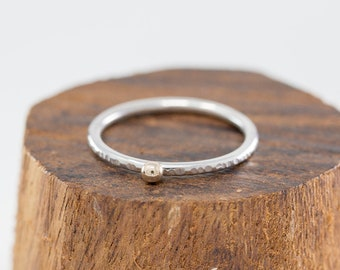 Solid 9ct Yellow Gold&Sterling Silver Solitaire Ring|Gold Dot Ring|Gold Solitaire Ring|Stacking Ring|Mixed Metal Ring|Gift for Her