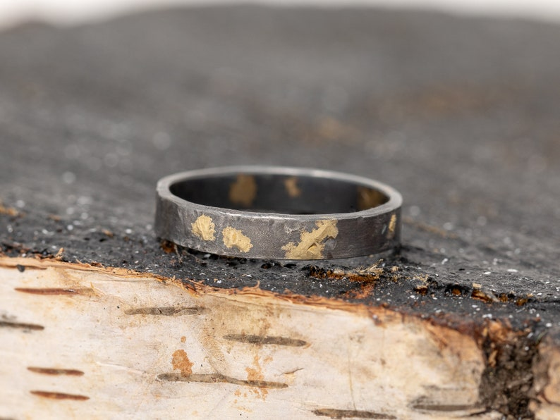 4MM Wide 24K Gold & Sterling Silver Rustic Ring Mens Rustic image 0