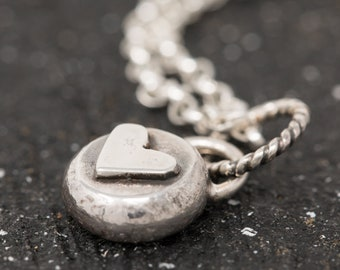 Handmade Sterling Silver Heart Necklace|Heart Necklace|Love Heart Necklace|Organic Pendant Necklace|Small Rustic Heart Necklace|Gift for Her