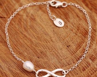 Sterling Silver Infinity Knot Bracelet|Infinity Bracelet|Bridal Bracelet|Pearl Bracelet|Infinity Knot Bridal Bracelet|Bridesmaids Bracelet