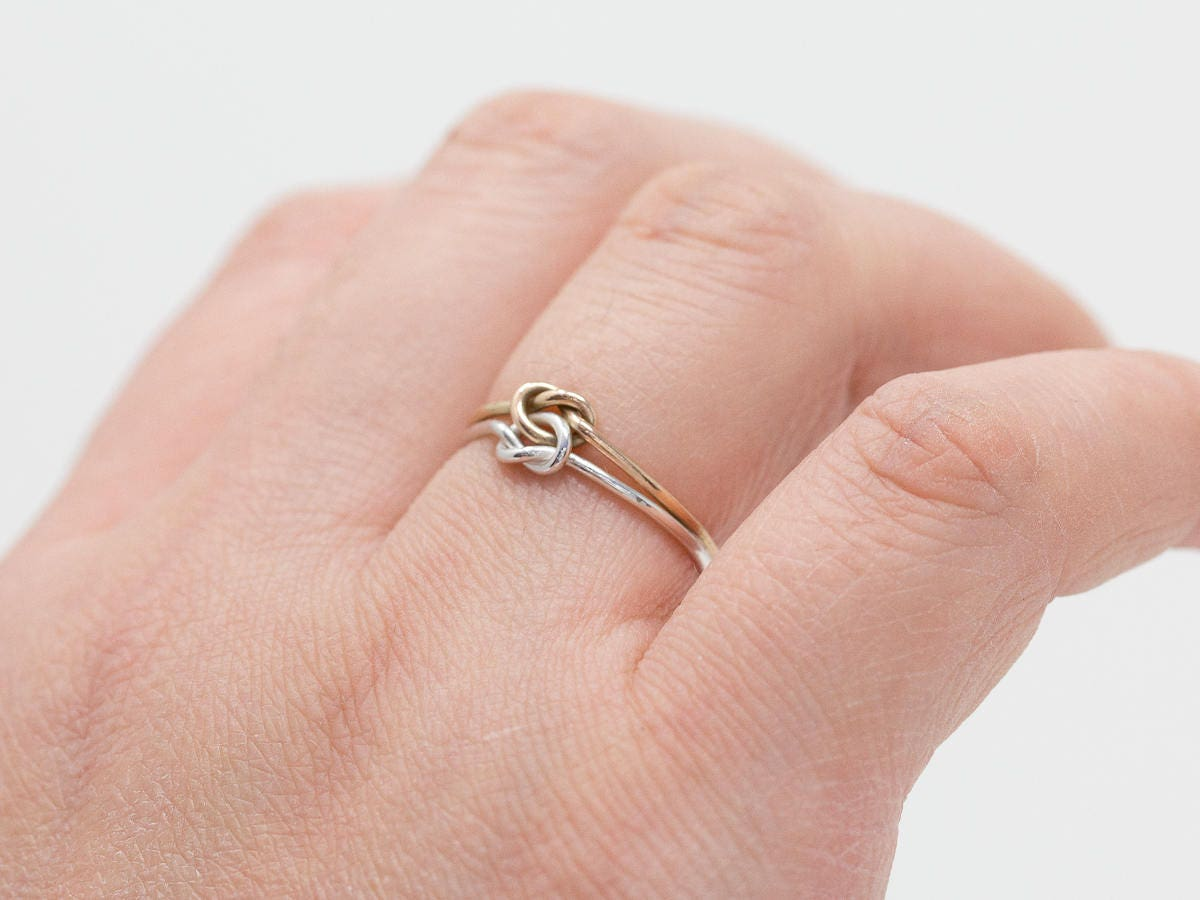 9ct Gold&Sterling Silver Double Knots Ring|Silver n Gold 2 Knots ...