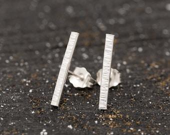 Sterling Silver Bar Stud Earrings|Silver Bar Earrings|Unisex Earrings|Sterling Silver Stick Studs|Minimalist Earrings|Textured Bar
