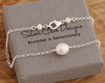 Beautiful Sterling Silver And White Freshwater Pearls Anklet, Pearls Anklet, Sterling Silver Ankle Bracelet, Summer Accessory, Gift for Her