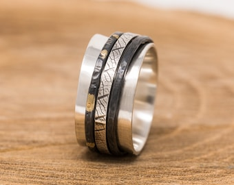 Spinner Ring|24K Gold Keumboo Sterling Silver Spinner Ring| Mixed Metal Ring| Fidget Ring|Meditation Ring|Unisex Ring|Anxiety Ring|Mens Ring
