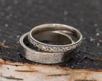 Sterling Silver Wedding Ring Set, Floral Wedding Ring Set, Patterned Wedding Ring Set Bands, his and hers rings, Men's Wedding rings