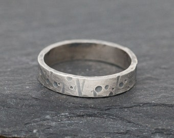 Sterling Silver Wedding Band, Unisex Ring, Sterling Silver Band, Celestial Ring, Rustic Ring, Rustic Wedding Band, Gift for Him or Her