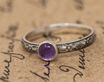 Sterling Silver& Amethyst Ring|Sterling Silver Floral Ring with Amethyst|February Birthstone Ring|Amethyst Ring|Gift for Her|Mothers Gift