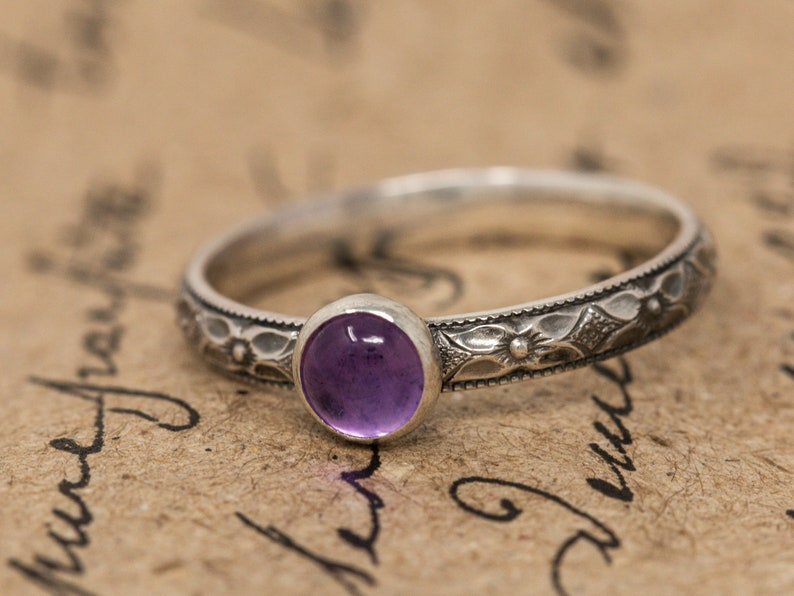 Sterling Silver& Amethyst RingSterling Silver Floral Ring image 0
