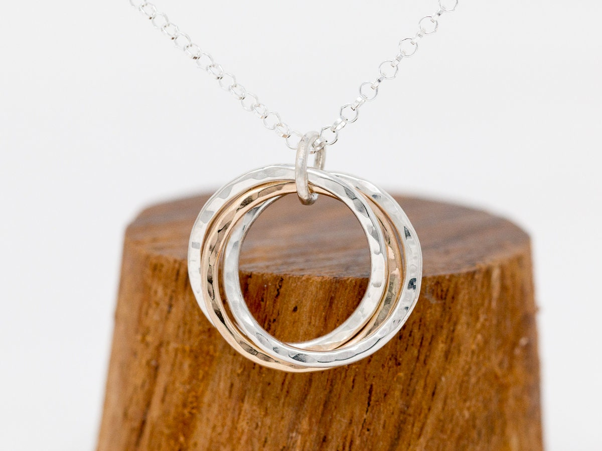 Sterling Silver 9ct Gold 3 Circles Necklace Russian Ring Necklace