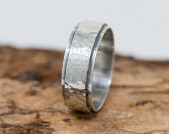 8MM Wide Sterling Silver Unisex Ring Sterling Silver Ring Rustic Ring Unisex Ring Rustic Silver Ring Thumb Ring Gift for Her Gift for Him